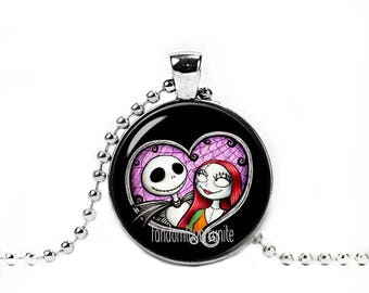 Jack Skellington and Sally Necklace with Pendant Fandom Jewelry Jack and Sally Necklace