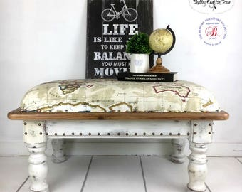 Upholstered Book-Nook/Window Seat with World Map Fabric