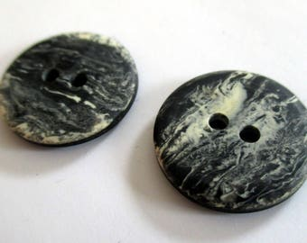 2 Black & White Design Vintage Buttons | 19mm Buttons | Plastic Buttons | Unusual Buttons | Small Statement Buttons