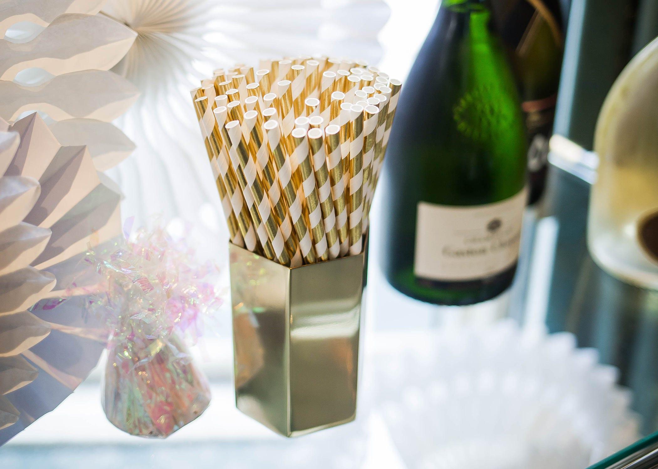 Gold Paper Straws | Gold | Metallic Striped Straws