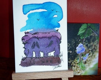 Bear & Moose - ACEO card.