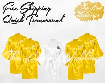 BUTTERCUP SATIN ROBE - Bridesmaid Gifts - Bridesmaid Robes - Getting Ready Robe - Kimono Robe - Wedding Robes - Bridal Robe - Silk Robe