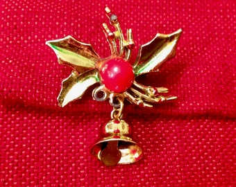 Sweet Vintage Holly Berry Ringing Bell Brooch