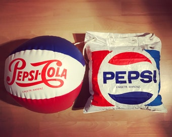 Inflatable Pepsi beach bag and Pepsi water polo / / original Seveties / Eighti
