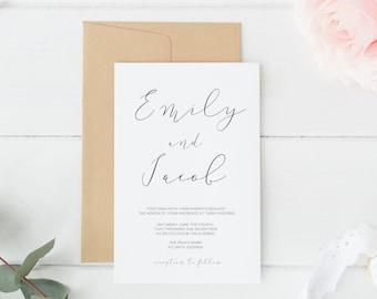 Wedding Invitations, Printable Wedding Invitations, Printable Invitation Suite, Wedding Invitation Suite, Invitation Suite, DIY Invitations
