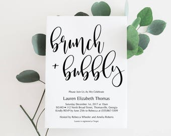 Bridal Shower Invitations, Brunch and Bubbly Invitations, Bridal Shower Brunch, Printable Bridal Shower Invitations, Modern Bridal Shower