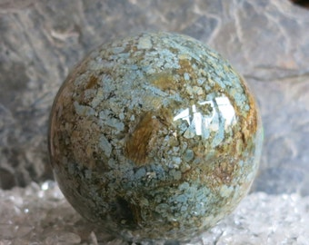 """MOSS Mossy Agate Crystal Ball gemstone 3.26 """"1,693 lb Moss agate stone ball 83 mm 768 grams India"""