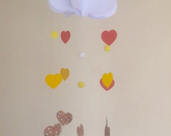 3D cloud and hearts baby mobile