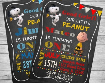 Snoopy Peanuts Birthday Party Invitation