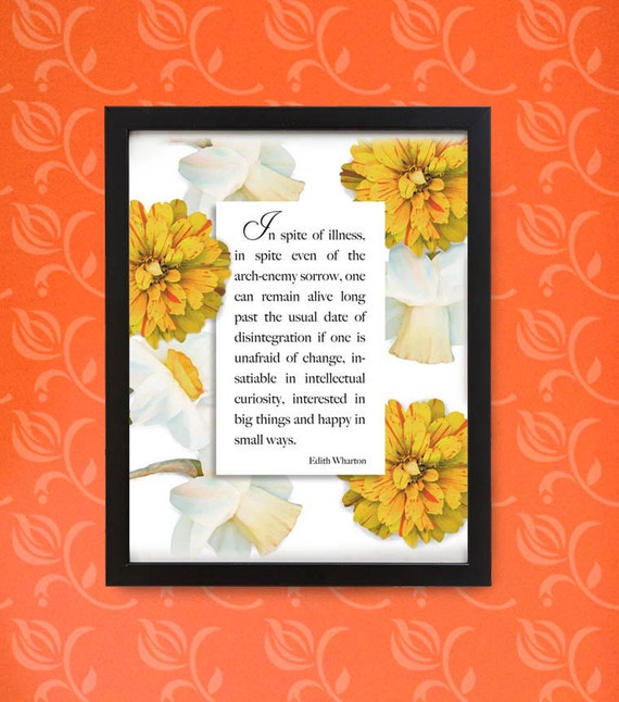Zinnia and Daffodils quote in wood frame. Typography for gardeners and flower lovers. Framed digital print for wall or desk.