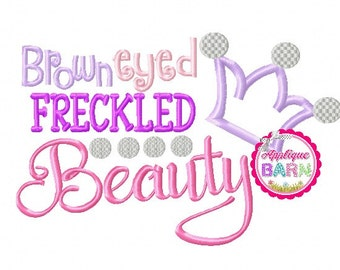 Brown Eyed Beauty embroidery design, Princess Applique