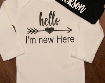 Hello I'm New Here and hat set, Hello, I'm New Here Baby One Piece, New Baby One piece,  New Baby Gift, New Baby, Hello I'm New Here