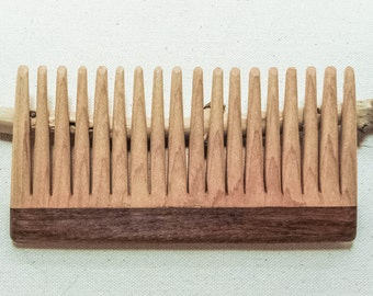 Modern Wooden Comb, Maple, Large Walnut Handle, Curly hair, beard comb, gifts for her, gifts for him.