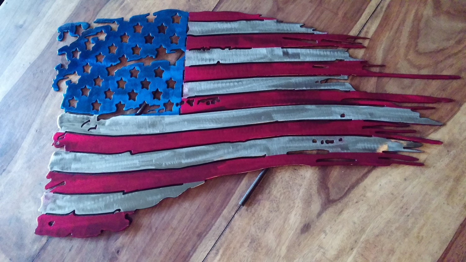 Battle Worn American Flag Custom Powder Coated By