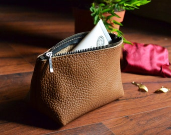 LEATHER COSMETIC POUCH - Small Brown Leather Clutch - Leather Toiletry Bag - Small Leather Bag - Leather Makeup Bag - Leather Cosmetic Bag