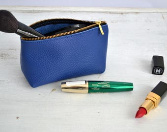 LEATHER POUCH, Royal Blue Leather Clutch, Blue Leather Toiletry Bag, Small Leather Bag,  Leather Makeup Bag,  Leather Cosmetic Bag, Purse