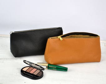 Leather Cosmetic Bag, LEATHER POUCH, Leather Pouch Bag, Leather Clutch, Leather Toiletry Bag, Leather Bag, Leather Makeup Pouch,