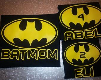 Batman Birthday Shirt Family Batman Themed Shirt Kid's B-day Shirt Children's Clothing BATMOM BATDAD Personalized Birthday Shirt Toddler Tee