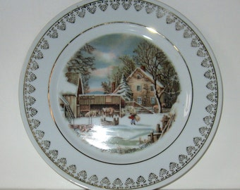 "Currier & Ives Wonderful ""The Farmer's Home in Winter"" Vintage  1978 Plate"