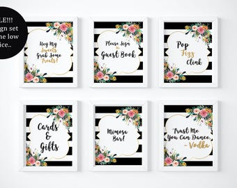 On Sale Today Kate Spade Bridal Shower/ Spade Party/ Pop Fizz Clink/ Bubbly Bar/ Mimosa Bar/ Printable/ Wedding Sign/ Bar Sign/Wedding Decor