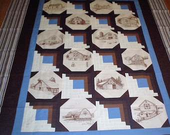 Barns and Cabins quilt top