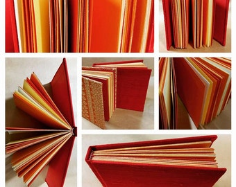 Landscape red silk journal with orange, tangerine, yellow and cream pages