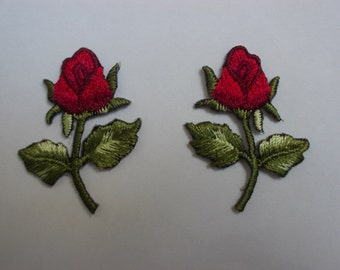 Small Red Wine Rose, 3 x 3.5 cm, set of 2, embroidered patch, flowers iron on/sew on appliques, seaweed green, fabric decorations (F-315)
