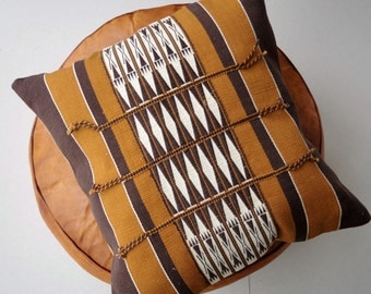 Handmade Brown Cushion inspired from Naga tribal designs 40cm x 40cm (cover only)