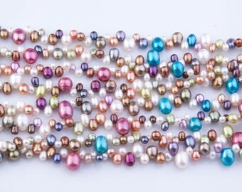 Multicolor Rice Freshwater Pearls, AA Grade, Loose Pearls, Semi-Precious Gemstones, Priced per Strand, Mixed Color, Natural Pearls, PRL056