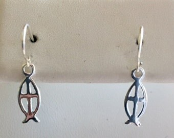 Christian Symbol Fish with Cross Sterling Silver Earrings