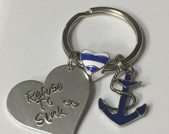 Refuse to sink keychain, refuse to sink, keychain, anchor keychain, hand stamped keychain