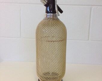 Vintage Seltzer Bottle Gold Metal Mesh Soda Siphon Glass Syphon Bottle 1970's Vintage Made in Czechoslovakia