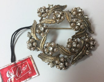 Vintage Coro Brooch Pin with Original Tag, Wreath Brooch with Pearls and Rhinestones