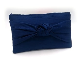 Set of 3- Knot Bridesmaid Clutches, Bridesmaid Silk Bow Wedding Bags Gifts Blush Navy Silver Ivory Gray Black