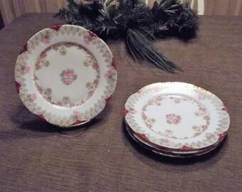 Antique Hand Painted R C Versailles Bavaria Plates, 4 Piece Set