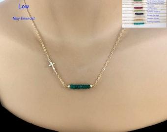 Sideways Gold Cross, Gemstone Bar Necklace, Birthstone Necklace, 14Kt Gold Filled, Tiny Gold Cross, Baptism Gift, First Communion, Birthday