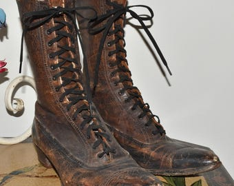 Antique Victorian Ladies Leather Lace Up Shoes Boots