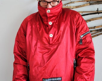 Vintage RED anorak 1990s 1980s outdoor jacket red colour WCOME back print
