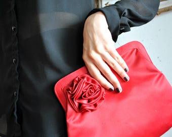 Vintage red clutch 1990s little handbag big rose flower