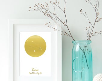 Taurus Zodiac Constellation Alternative, Astrology, Star Signs, Horoscope. Real Foil Print. Home Decor. Homemade Gift. Love. Personalised,