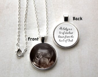 Sonogram Necklace, Baby Ultrasound, Necklace, A Baby is a Bit of Stardust, Birth, Personalized, Pendant, Double Sided