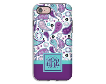 Monogram iPhone 7 case, purple paisley iPhone 7 Plus case, paisley iPhone 6s/6s plus case, iPhone SE case, iPhone 6 Plus case/6 case