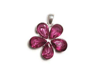 Violet Pink Crystal Glass Flower Pendant / Silver Plated Large Fashion Statement Necklace Pendant / Fuschia Pink Lover Jewelry Gifts Under 5