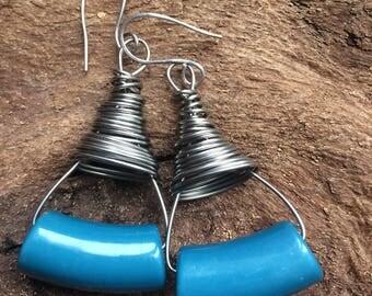 Bold stainless steel wire earrings, funky long earrings, blue beaded earrings, contemporary earrings,  dangle earrings, wire wrap earrings