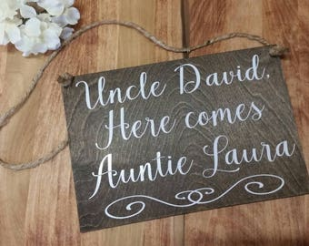 CUSTOM Here Comes the Bride Sign-Make It Your Own-Choose The Wording-Rustic Wedding Sign-Ring Bearer Sign