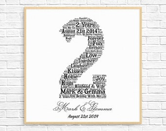 PERSONALIZED 2nd ANNIVERSARY Gift ~ Word Art ~ Printable Art ~ Unique Anniversary gift ~ 2 Year Wedding Anniversary ~ Unique Gift