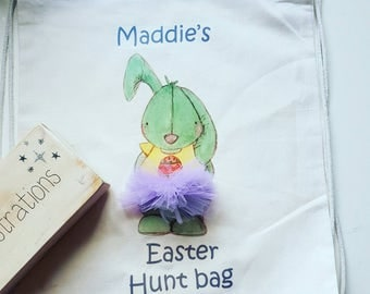 easter egg hunt bag with E.gilbert bunny design