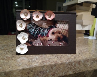 4 X 6 Book Picture Frame with Flowers Brown
