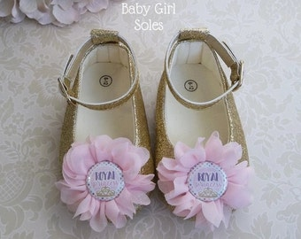 Princess Outfit, Princess Birthday Outfit, Pink and Gold Shoes, Pink and Gold Princess First Birthday, Royal Princess Shoes