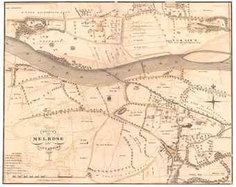 Old map of Melrose | Fine Art Print | vintage town survey in Scottish Borders, Scotland Town Map Poster from 1882